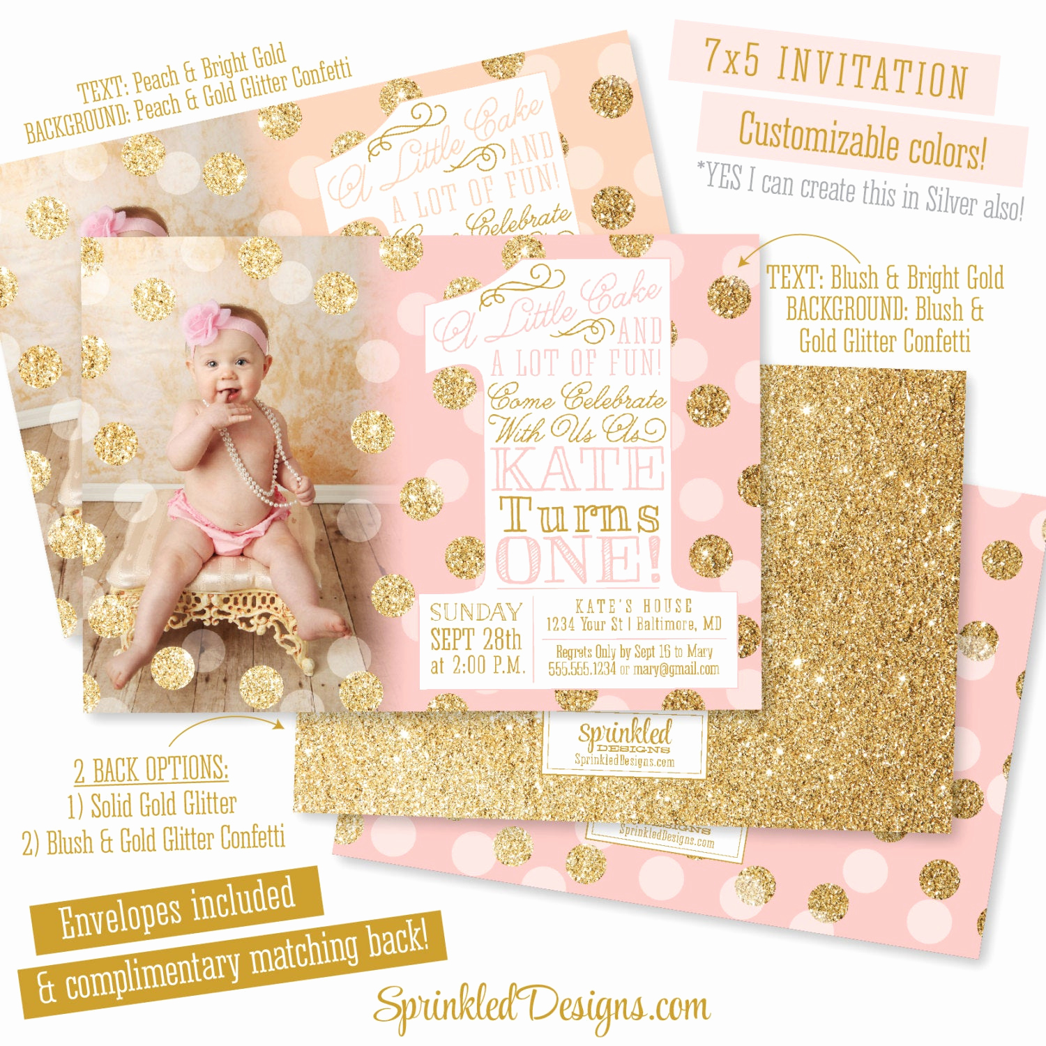 Pink and Gold Birthday Invitation Elegant Pink Gold First Birthday Invitation with Big One 1st
