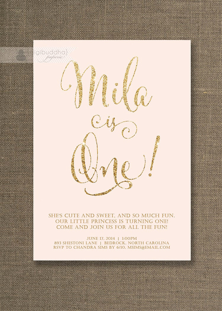 Pink and Gold Birthday Invitation Fresh Blush Pink & Gold Birthday Invitation Girl Gold Glitter Pastel