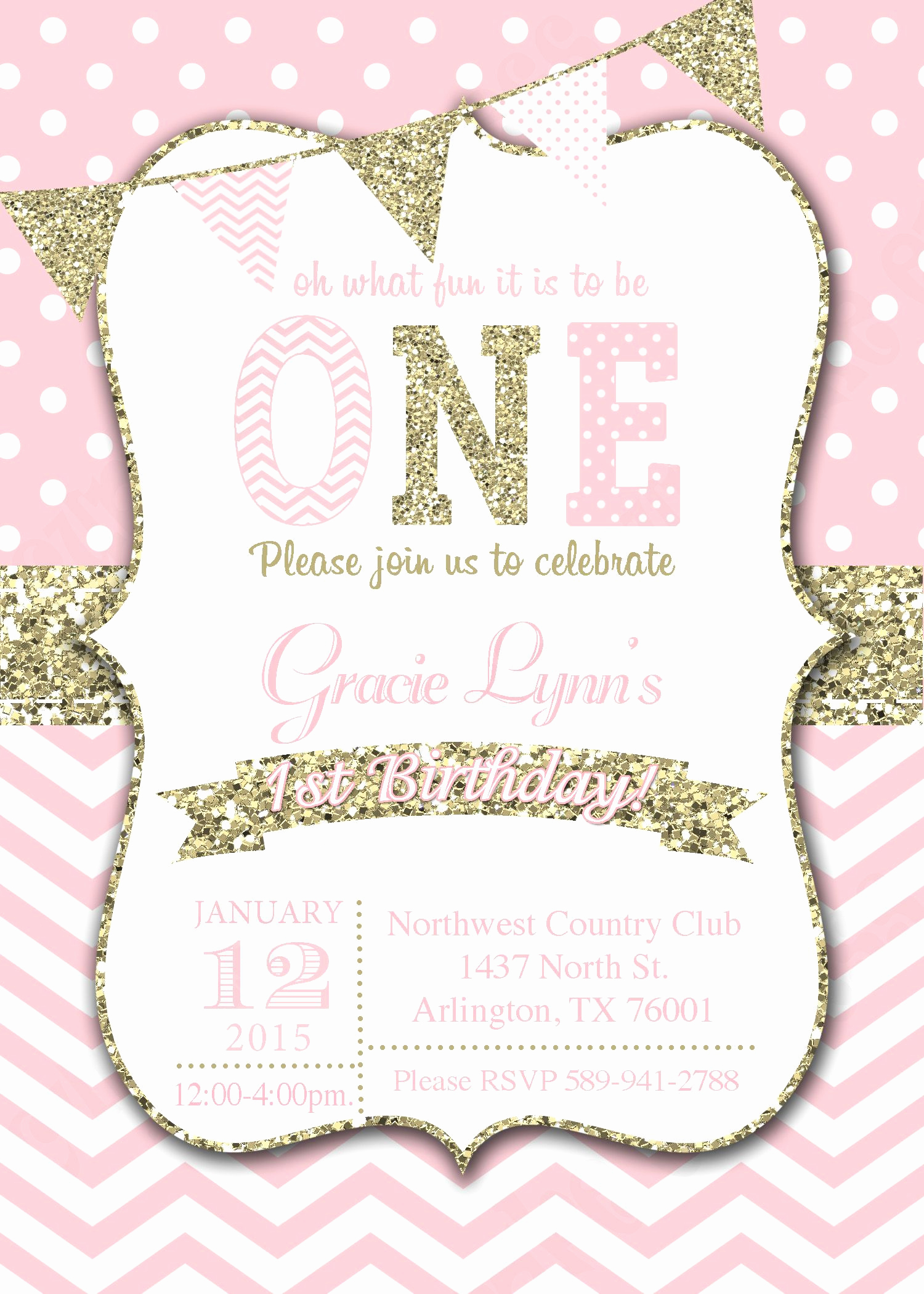 Pink and Gold Birthday Invitation Fresh Girls First Birthday Invitation Pink Gold Invitation