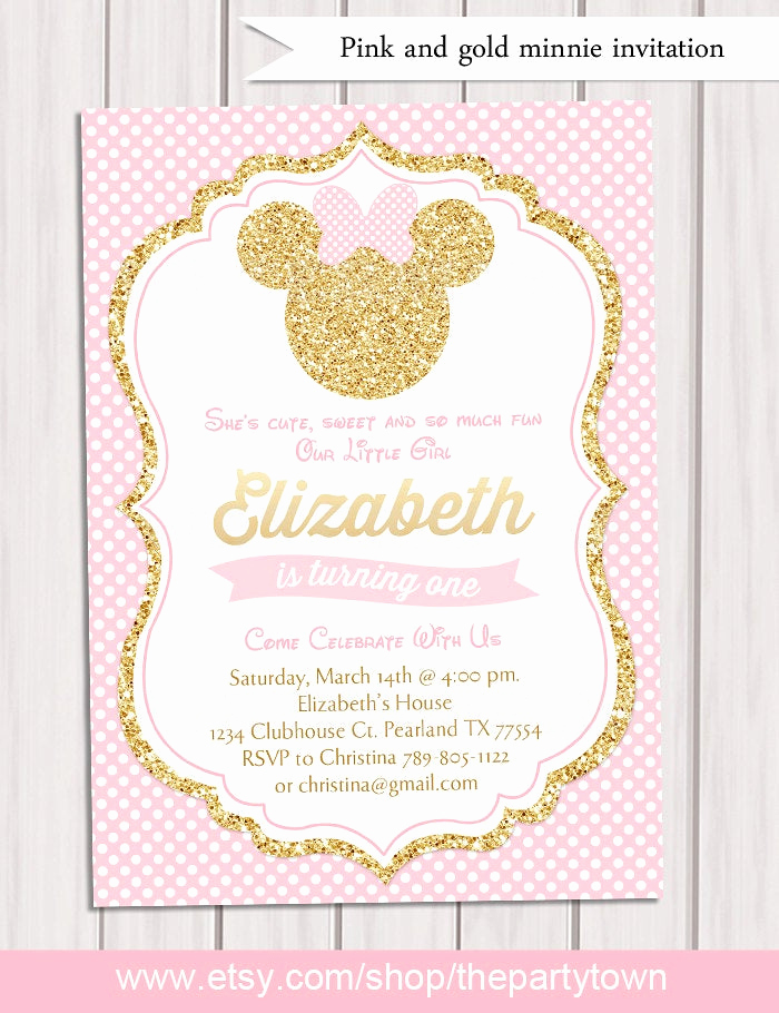 Pink and Gold Birthday Invitation Fresh Pink and Gold Minnie Mouse Birthday Party Invitation First