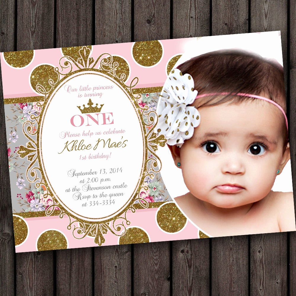 Pink and Gold Birthday Invitation Inspirational First Birthday Invitation Pink and Gold Gray Pink Shabby