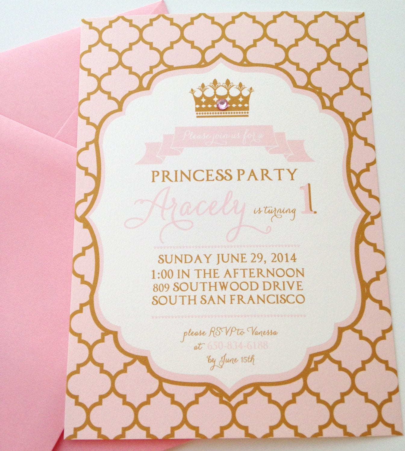 Pink and Gold Birthday Invitation Inspirational Pink & Gold Princess Party Invitations