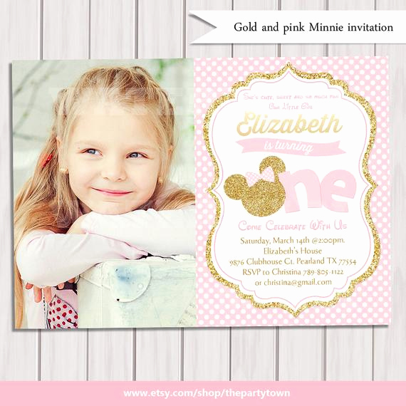 Pink and Gold Birthday Invitation Inspirational Pink and Gold Minnie Mouse First Birthday Party Invitation