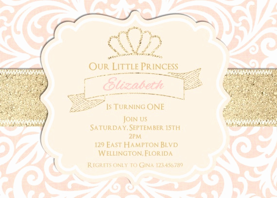 Pink and Gold Birthday Invitation Lovely Blush Pink and Gold Glitter Birthday Party Invitation Sweet