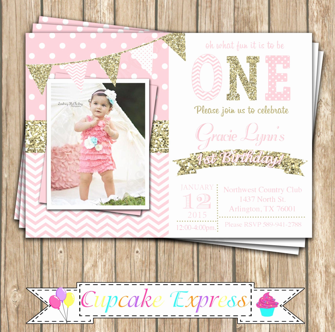 Pink and Gold Birthday Invitation Lovely E First Birthday Girl Coral Pink Gold Printable Invitation