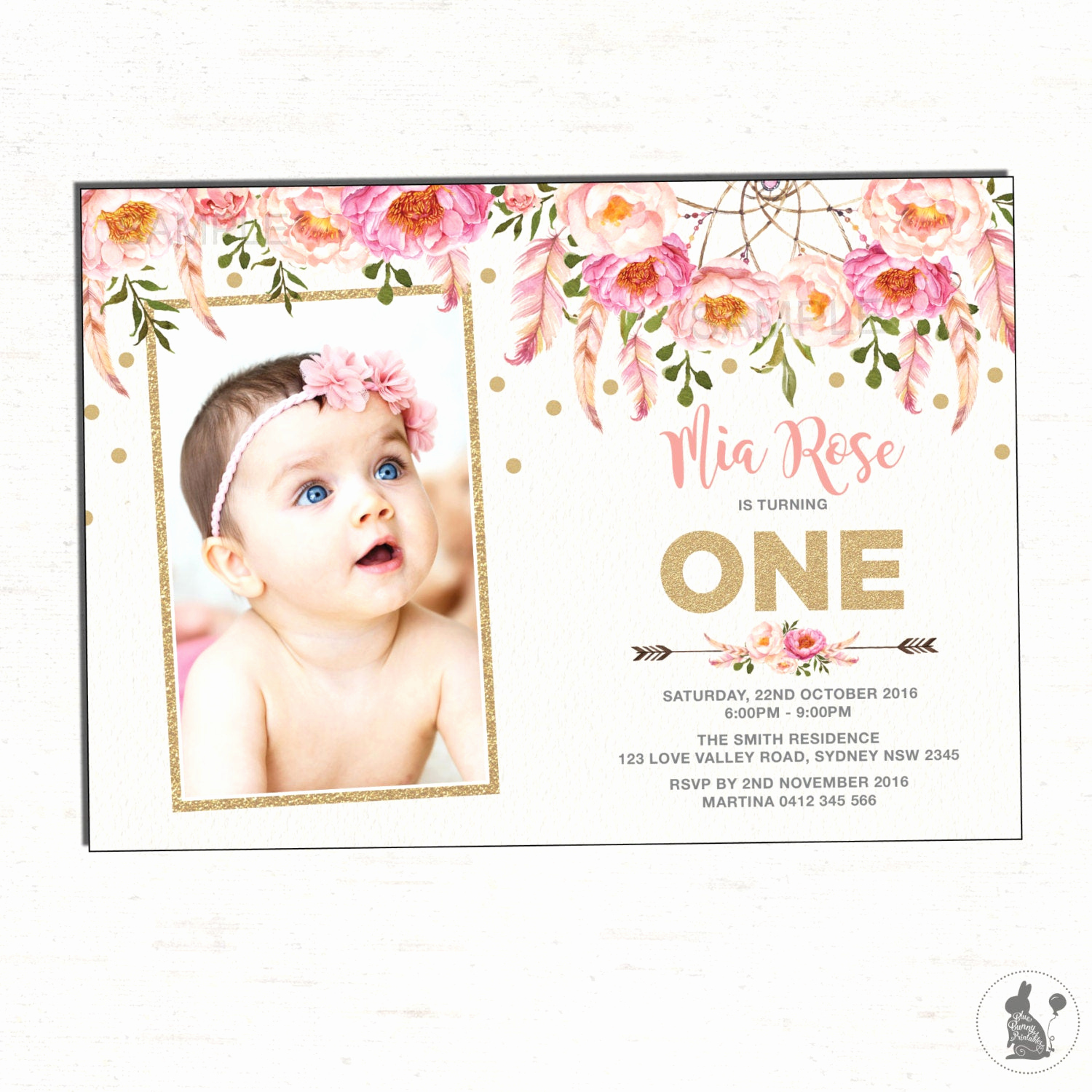 Pink and Gold Birthday Invitation Lovely Floral First Birthday Invitation Pink and Gold Party Invite