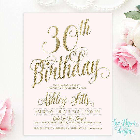 Pink and Gold Birthday Invitation Lovely Pink & Gold Birthday Invitation 30th Birthday Invitation
