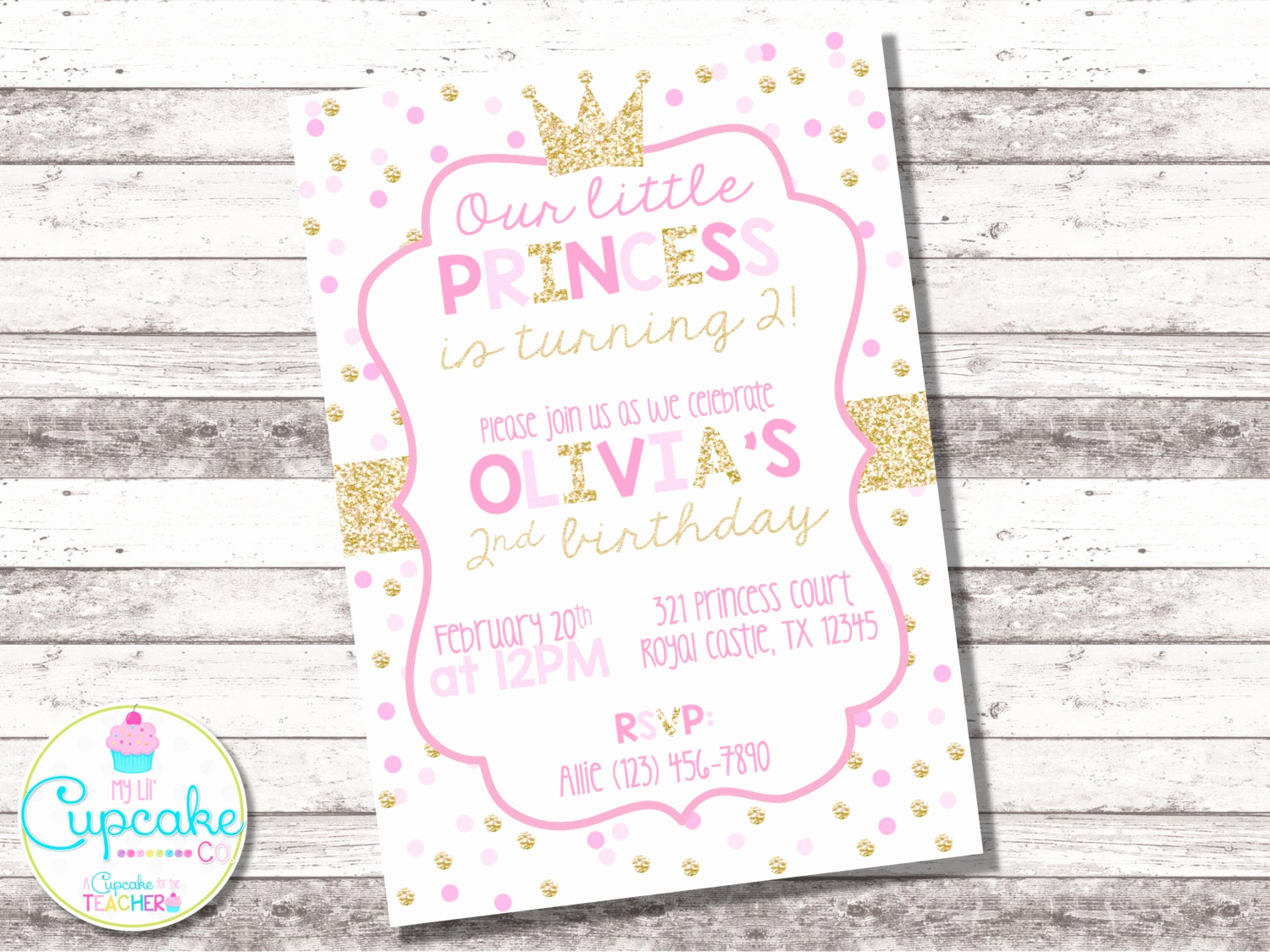 Pink and Gold Birthday Invitation Lovely Pink and Gold Princess Birthday Invitation Pink Gold