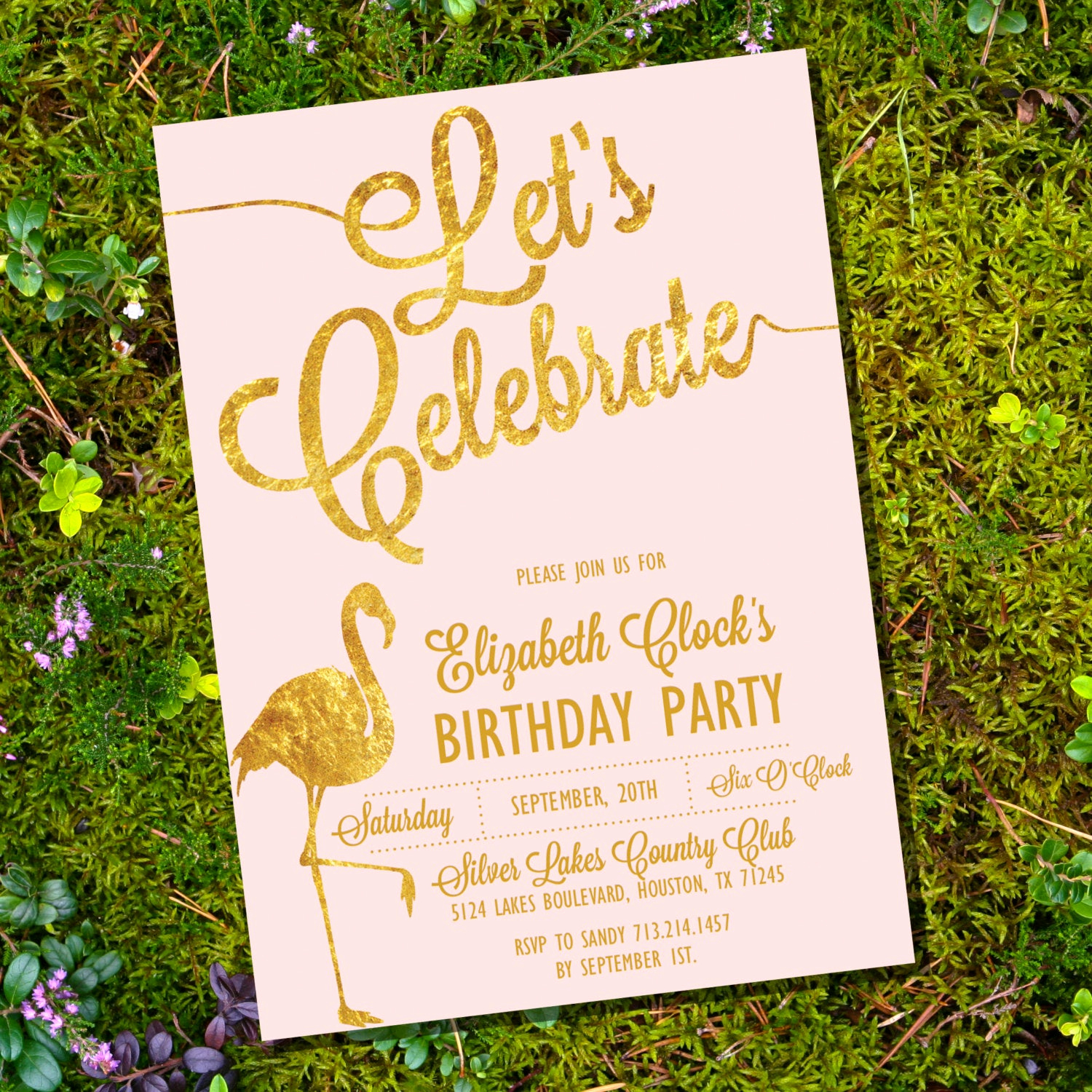Pink and Gold Birthday Invitation Luxury Let S Celebrate Pink and Gold Birthday Invitation 40th