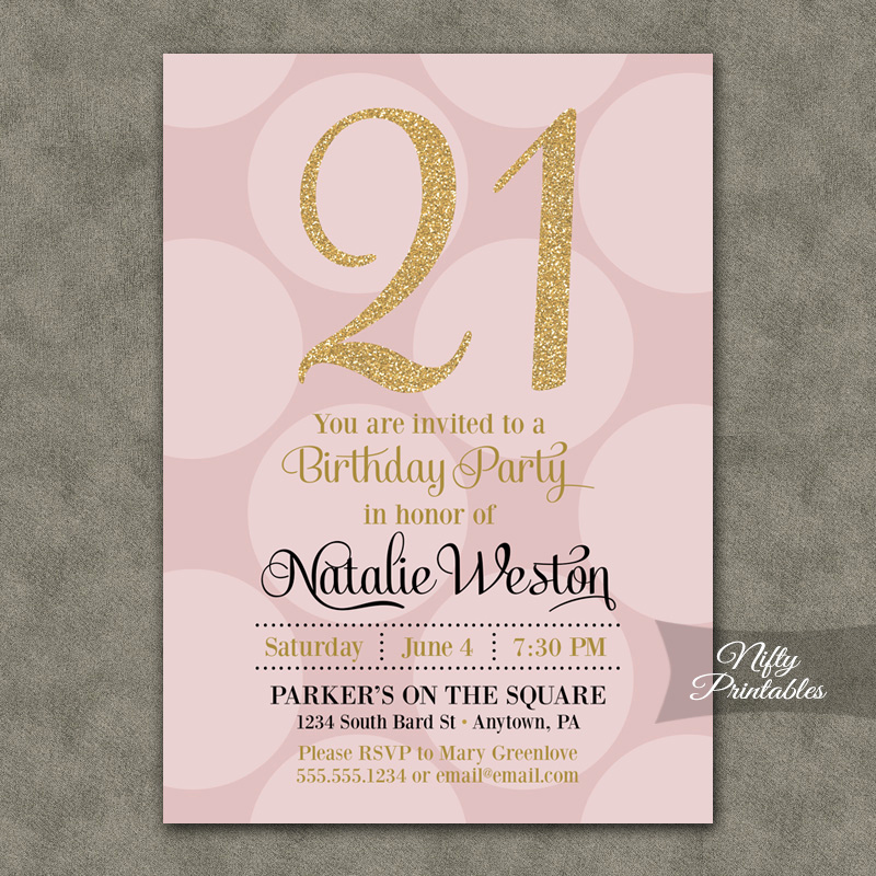 Pink and Gold Birthday Invitation Luxury Pink Gold Dots Birthday Invitations Nifty Printables