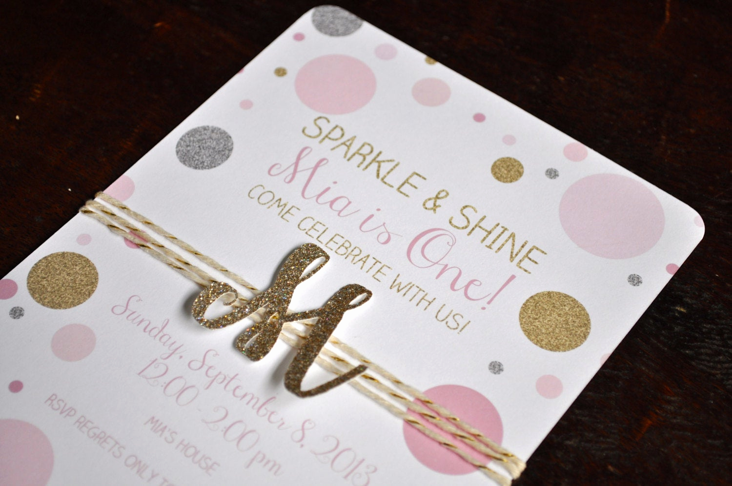 Pink and Gold Birthday Invitation Luxury Sparkle and Shine Pink Gold and Silver Dots with Glitter