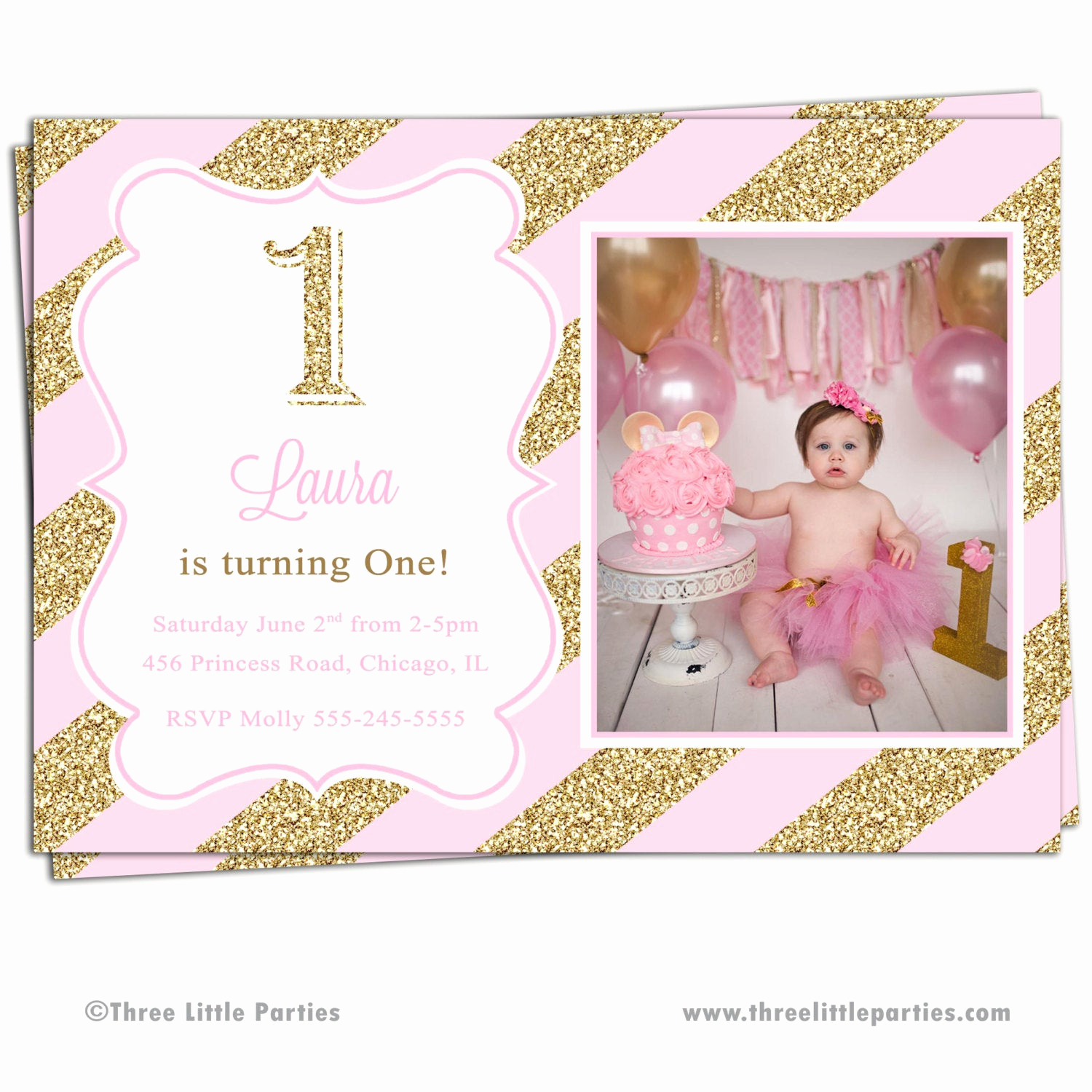 Pink and Gold Birthday Invitation New Glitter Invitation Sparkle Birthday Invitation Pink and Gold