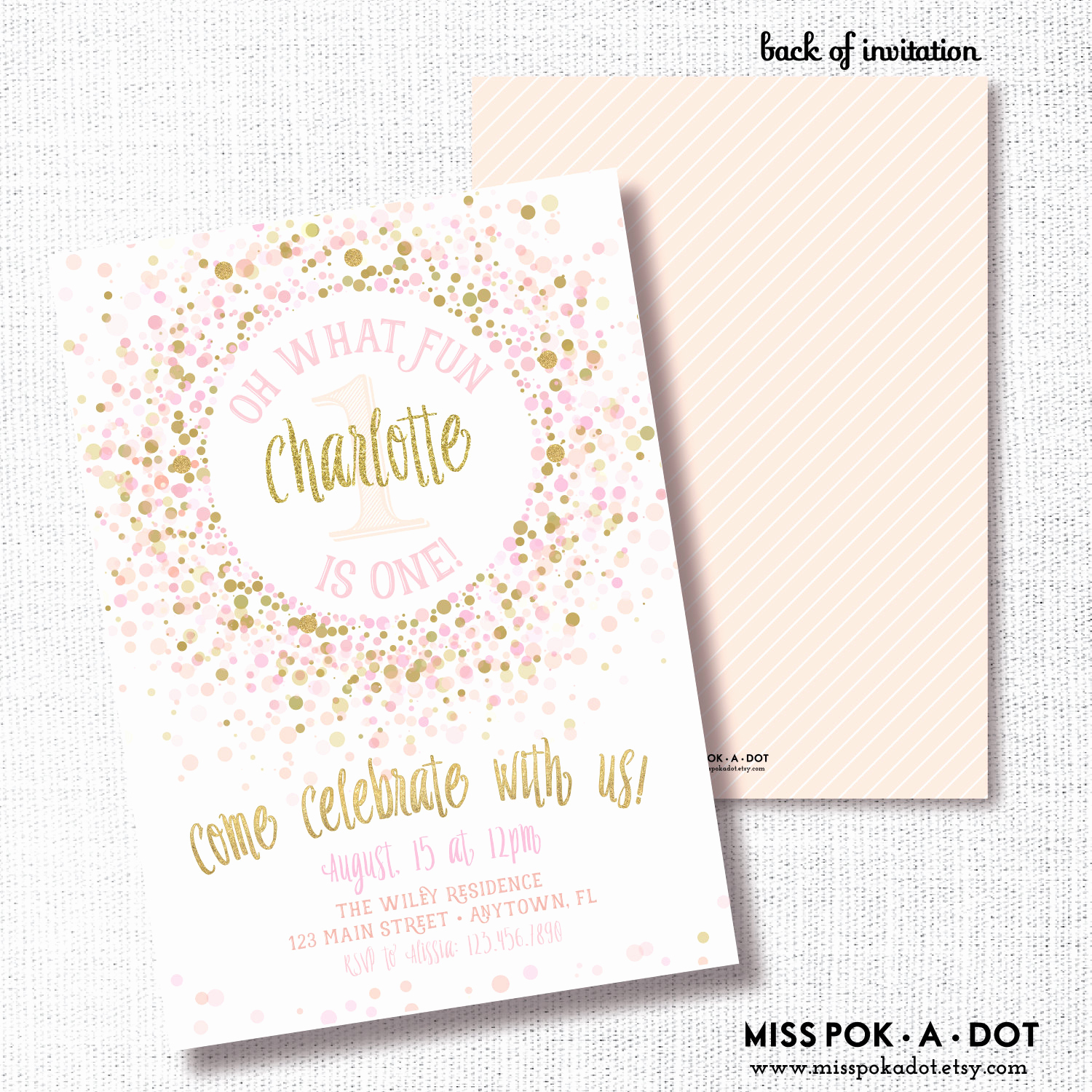 Pink and Gold Birthday Invitation New Pink and Gold Birthday Party Invitation Printable 1st