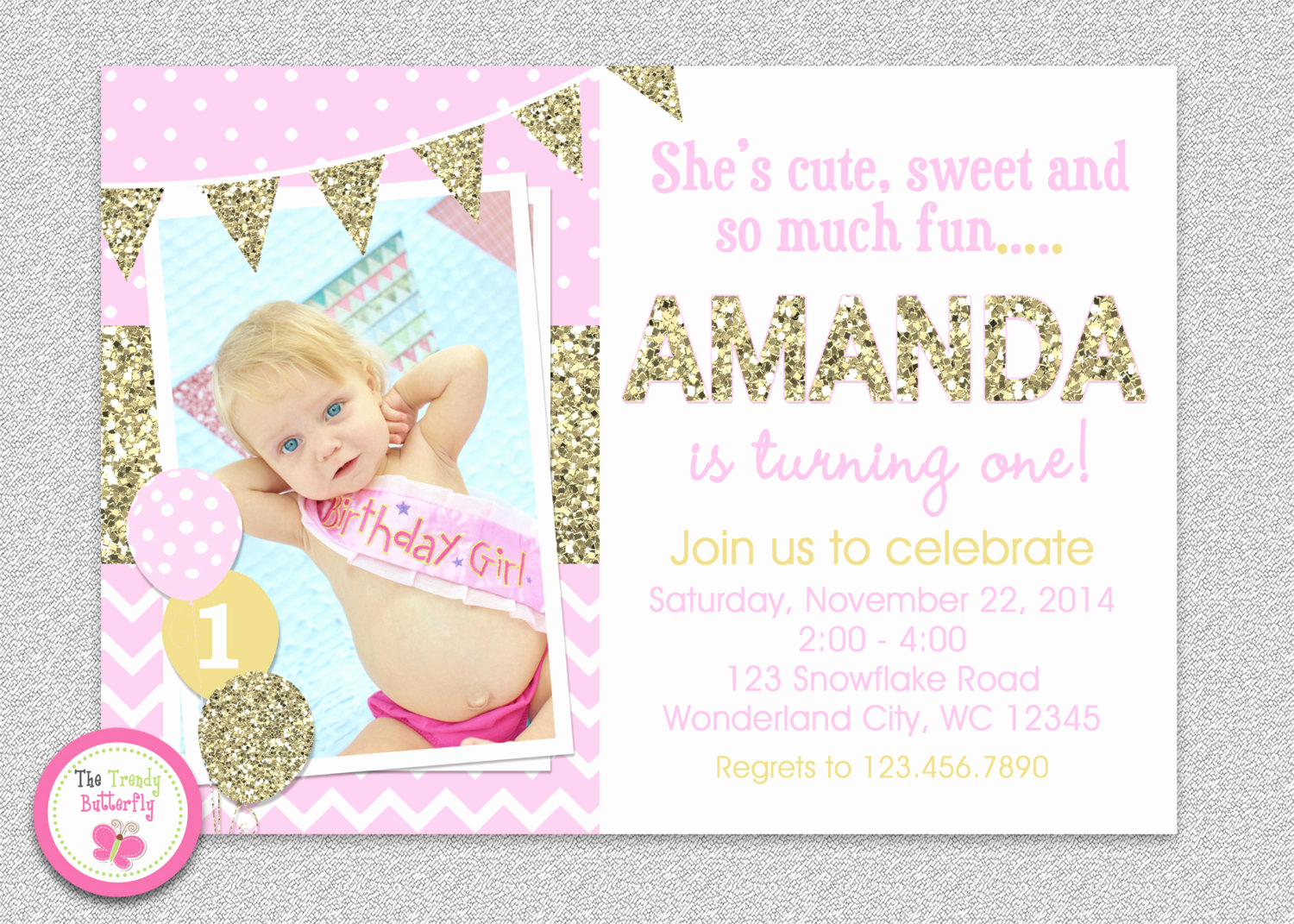 Pink and Gold Birthday Invitation Unique Pink and Gold Invitation 1st Birthday Invitation Girl