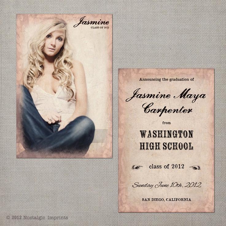 Pinterest Graduation Invitation Ideas Fresh Vintage Graduation Announcement the Jasmine $38 00 Via