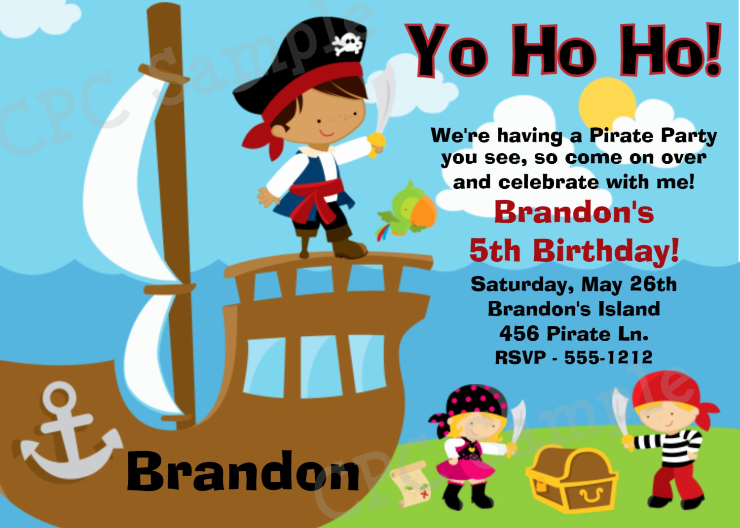 Pirate Party Invitation Templates Awesome Pirate Birthday Party Invitation Printable or by