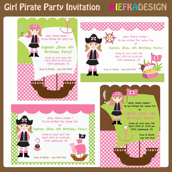 Pirate Party Invitation Templates Beautiful Girl Pirate Invites Blank Invitation Template for by Riefka