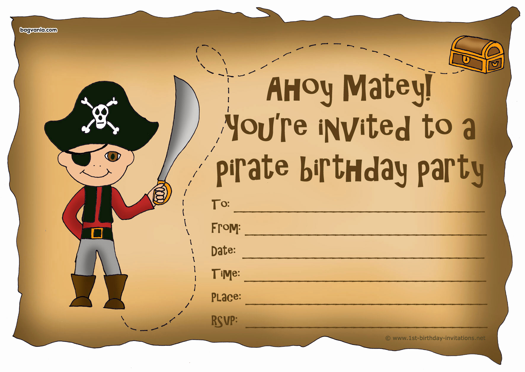 Pirate Party Invitation Templates Beautiful Pirates Birthday Invitations – Free Printable Birthday