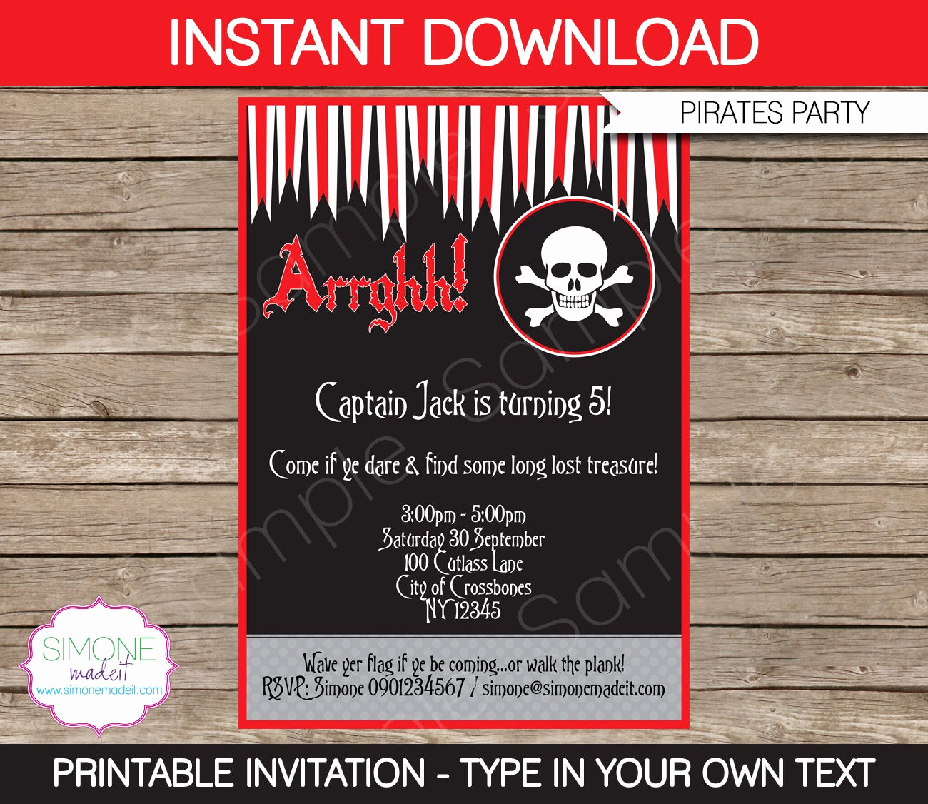 Pirate Party Invitation Templates Elegant Pirate Invitation Template Birthday Party Instant Download