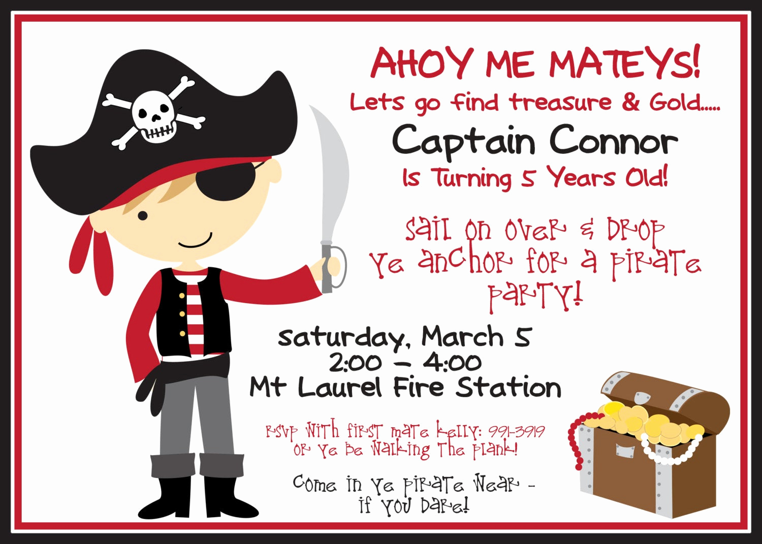 Pirate Party Invitation Templates Fresh Pirate Party Invitation and Black with Boy by