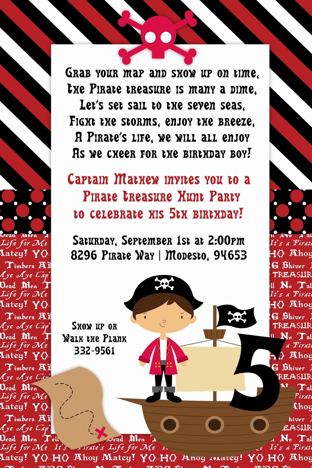Pirate Party Invitation Templates Fresh Pirate Party Kid Invitation