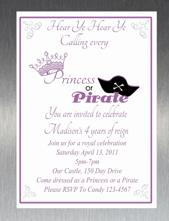Pirate Party Invitation Templates Inspirational Items Similar to Printable Diy Princess and Pirate Party