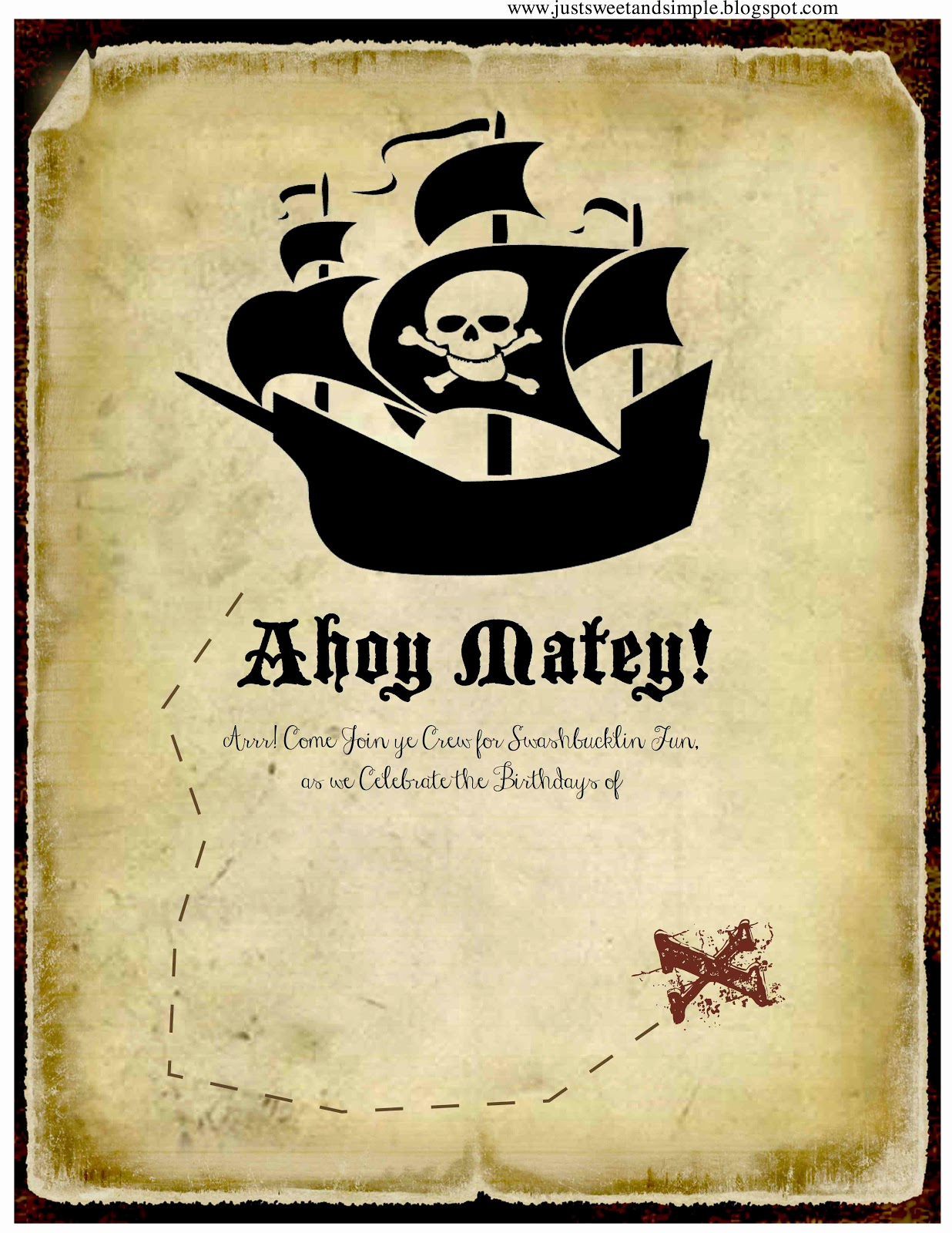 Pirate Party Invitation Templates Inspirational Just Sweet and Simple Pirate Party Invitations