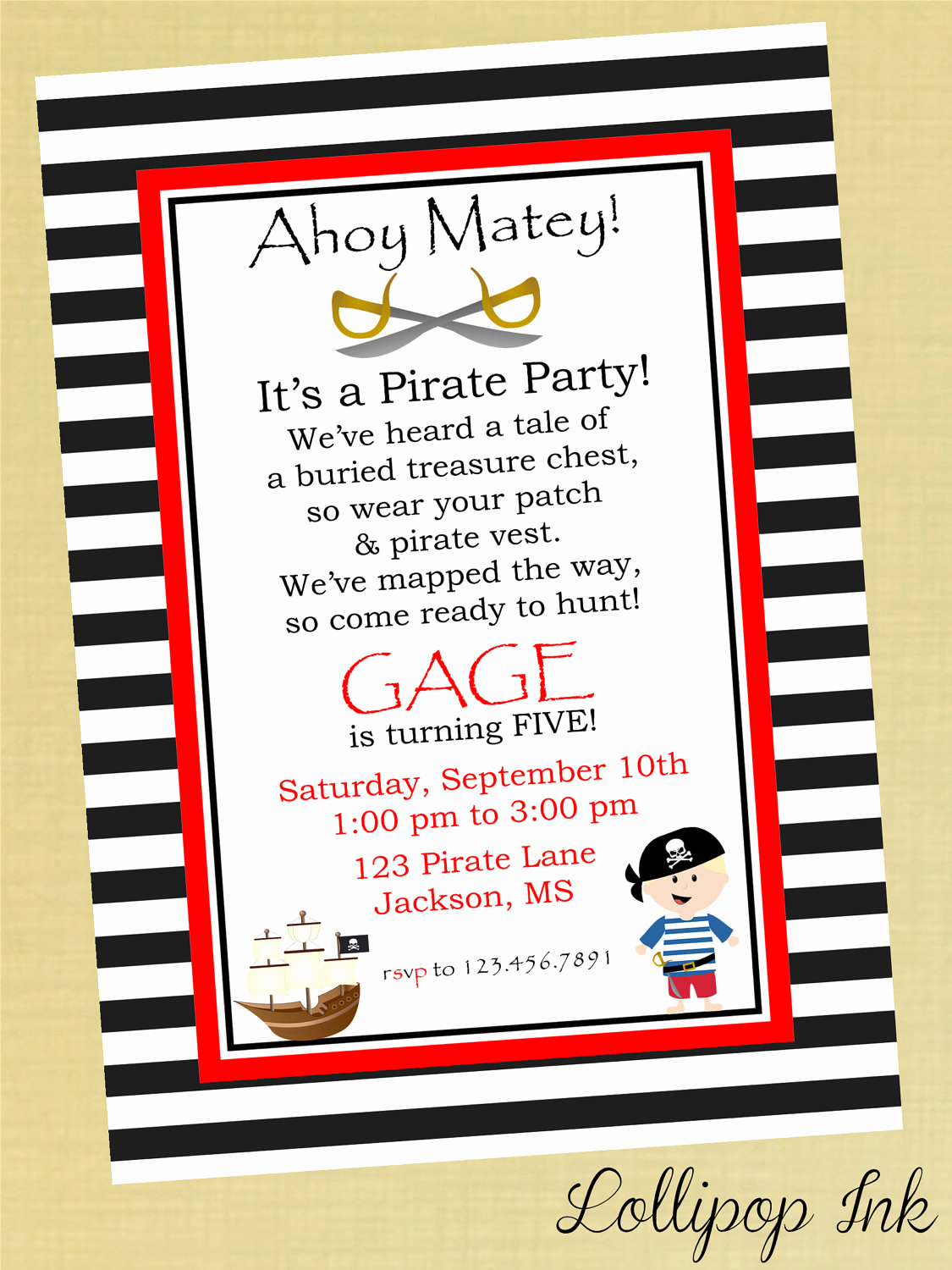 Pirate Party Invitation Templates Luxury Pirate Printable Invitation Personalized Pirate by Lollipopink