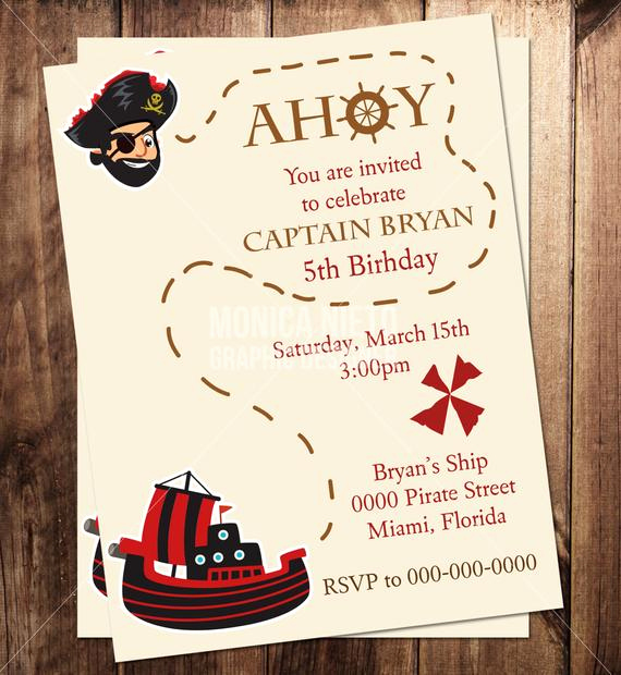 Pirate Party Invitation Templates Luxury Printable Pirate Birthday Party Invitation Boys Birthday