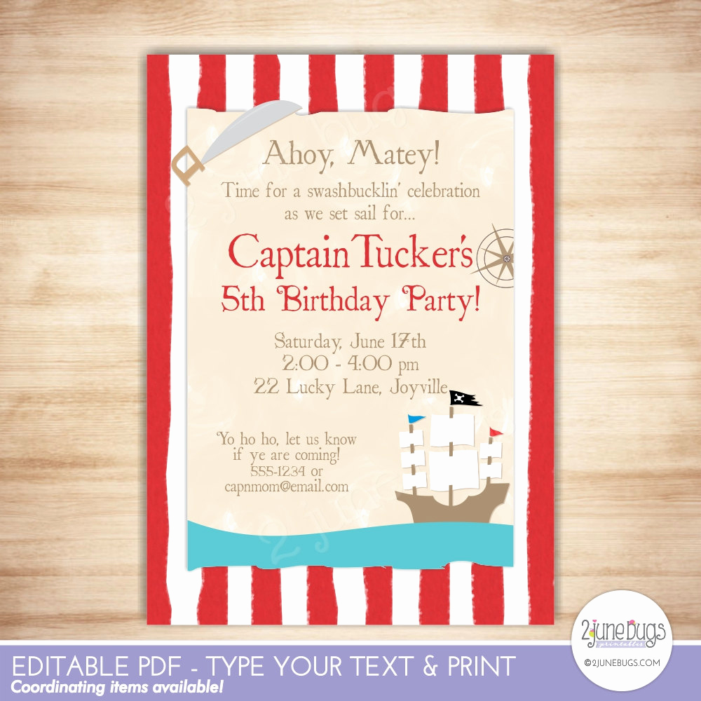 Pirate Party Invitation Templates New Pirate Birthday Party Invitation Pirate Party Invite Pirate