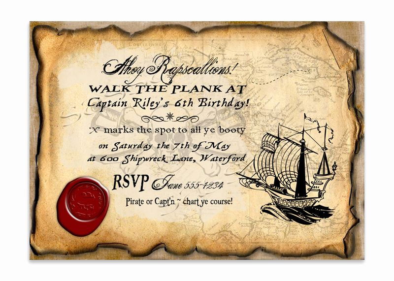 Pirate Party Invitation Templates New Pirate Invitation Special Moments In Life