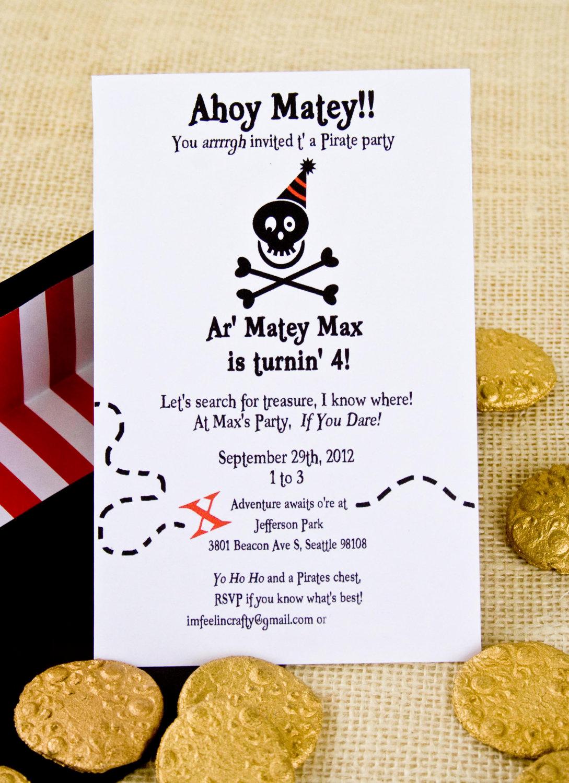 Pirate Party Invitation Wording Beautiful Pirate Party Invitation Printable Black by Imfeelincrafty