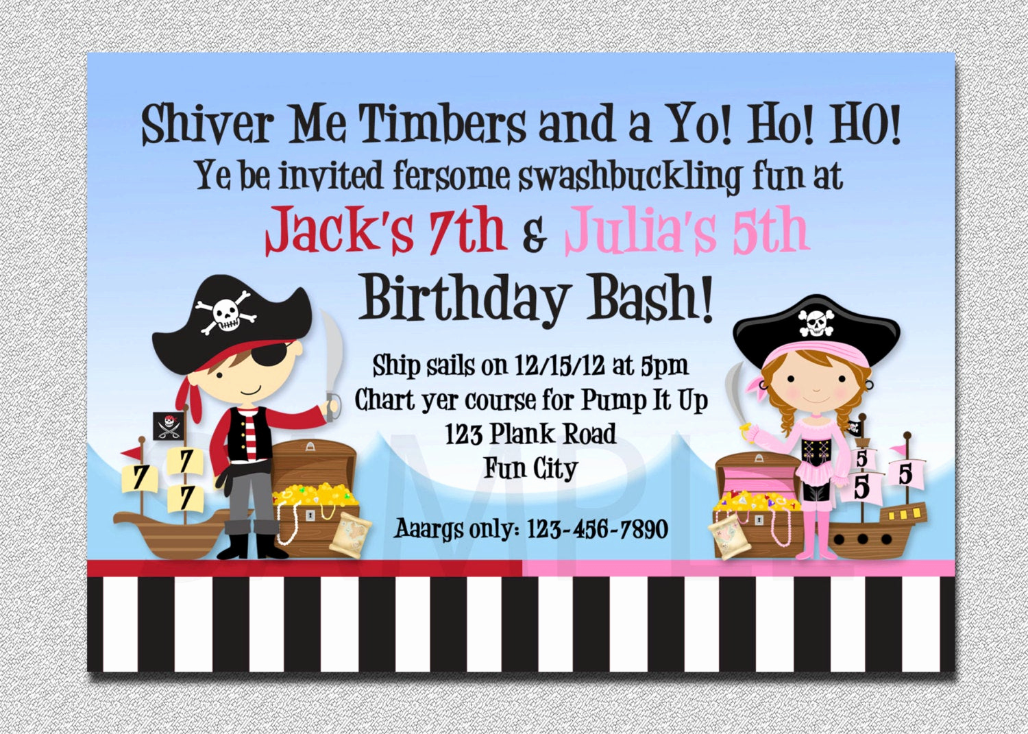 Pirate Party Invitation Wording Best Of Pirate Birthday Invitation Twins Pirate Birthday Party