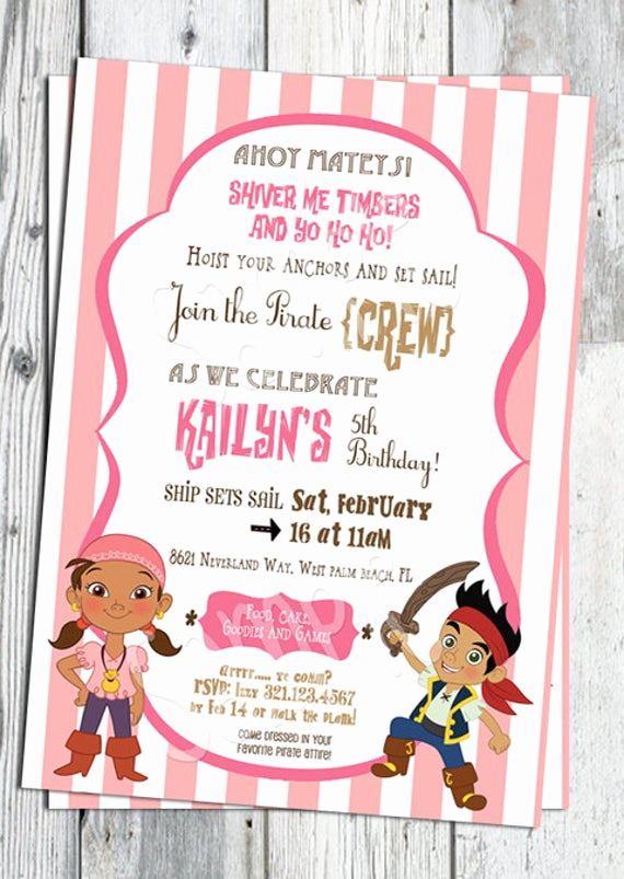 Pirate Party Invitation Wording Elegant Jake and the Neverland Pirates Birthday Invitation Printable