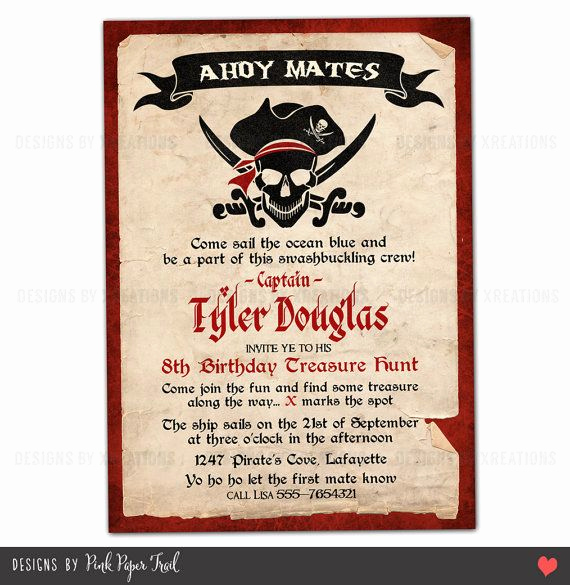Pirate Party Invitation Wording Elegant Pirate Party Invitation I Will Customize for You Print
