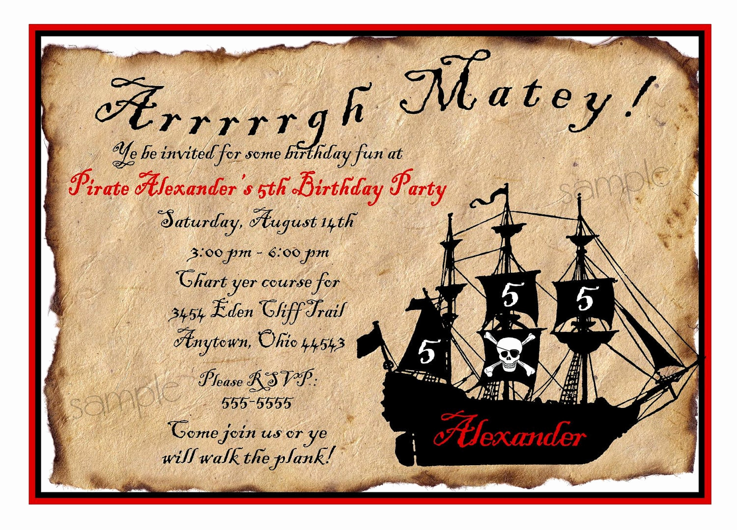 Pirate Party Invitation Wording Elegant Pirate Ship Birthday Party Invitations by Littlebeaneboutique