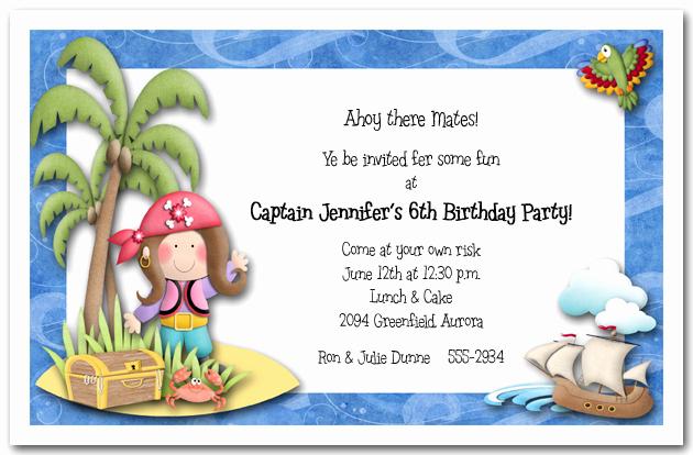 Pirate Party Invitation Wording Fresh Girl Pirate island Party Invitations Pirate Birthday