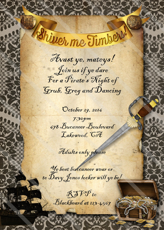 Pirate Party Invitation Wording Fresh Pirate Party Invitation Halloween Costume Adult Teen
