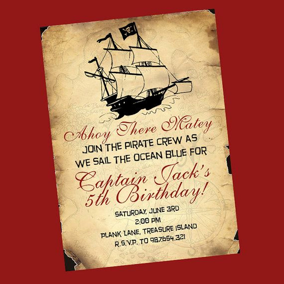 Pirate Party Invitation Wording Inspirational Pirate Birthday Invitation Pirate Party