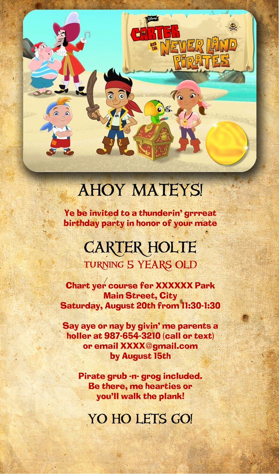 """Pirate Party Invitation Wording Lovely Family Focused """"jake and the Neverland Pirates"""" Birthday"""