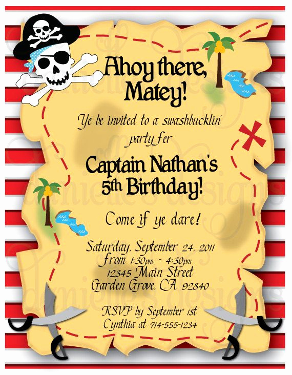 Pirate Party Invitation Wording New Pirate themed Birthday Party Invitations with Envelopes