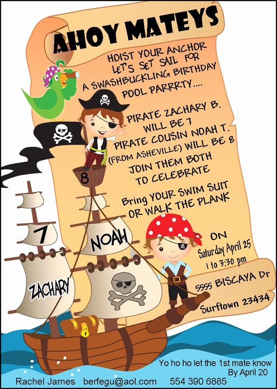 Pirate Party Invitation Wording Unique Items Similar to Pirate Pool Party Invitation Pirate