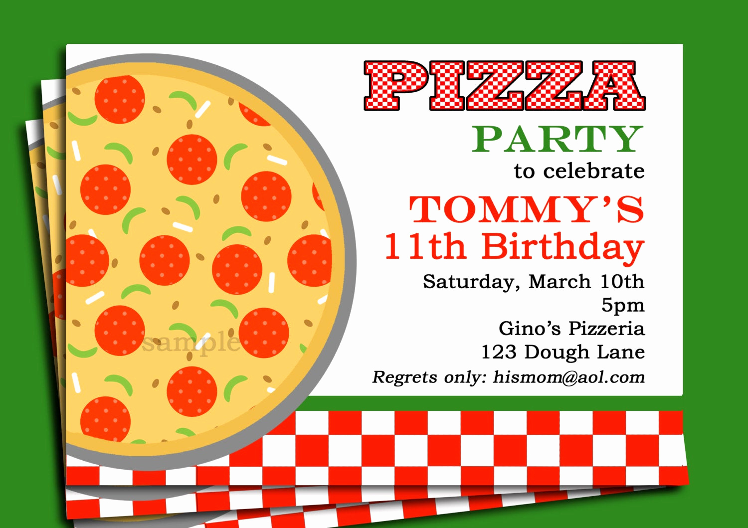 Pizza Party Birthday Invitation Awesome Pizza Party Invitation Printable or Printed with Free Shipping