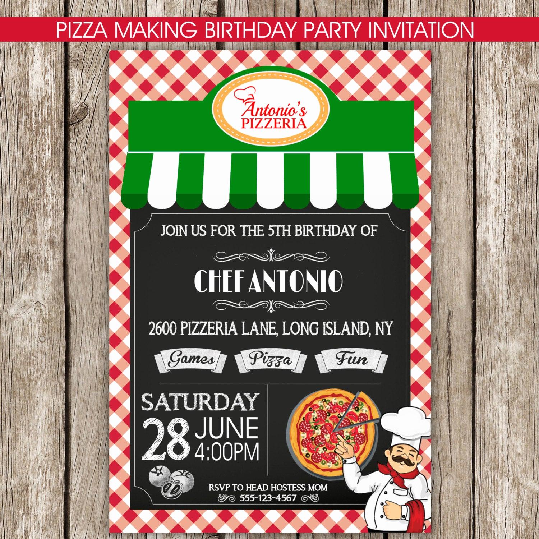 Pizza Party Birthday Invitation Beautiful Pizza Party Invitation Pizza Making Birthday Party Diy