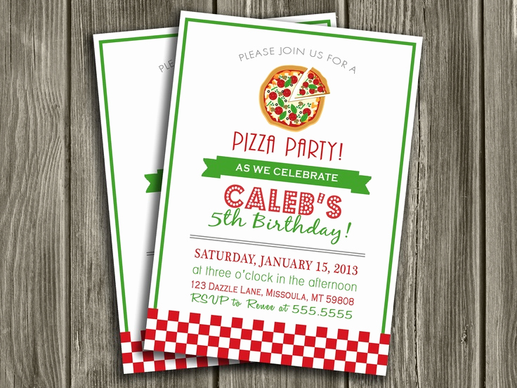 Pizza Party Birthday Invitation Best Of Pizza Party Birthday Invitation Free Thank You Card