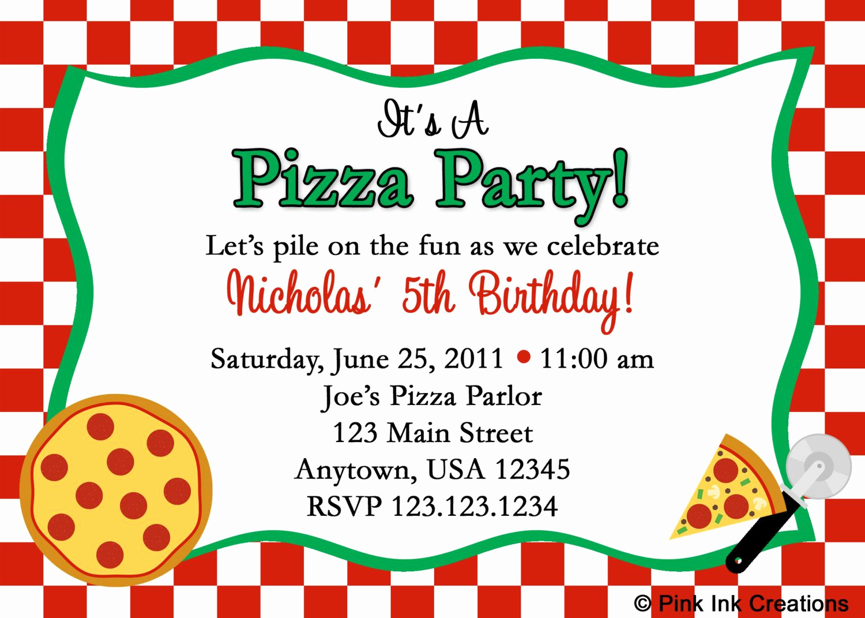 Pizza Party Birthday Invitation Fresh New Pizza Party Birthday Invitations Girl or by