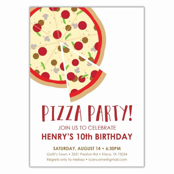 Pizza Party Birthday Invitation Fresh Pizza Party Birthday Invitation Brown Paper Studios
