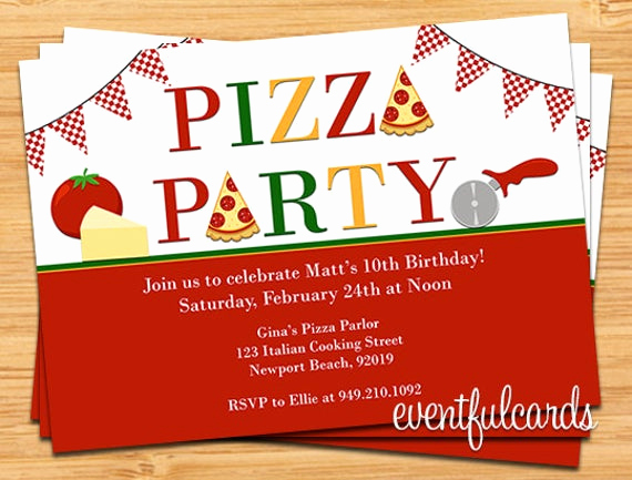 Pizza Party Birthday Invitation Fresh Pizza Party Birthday Invitation