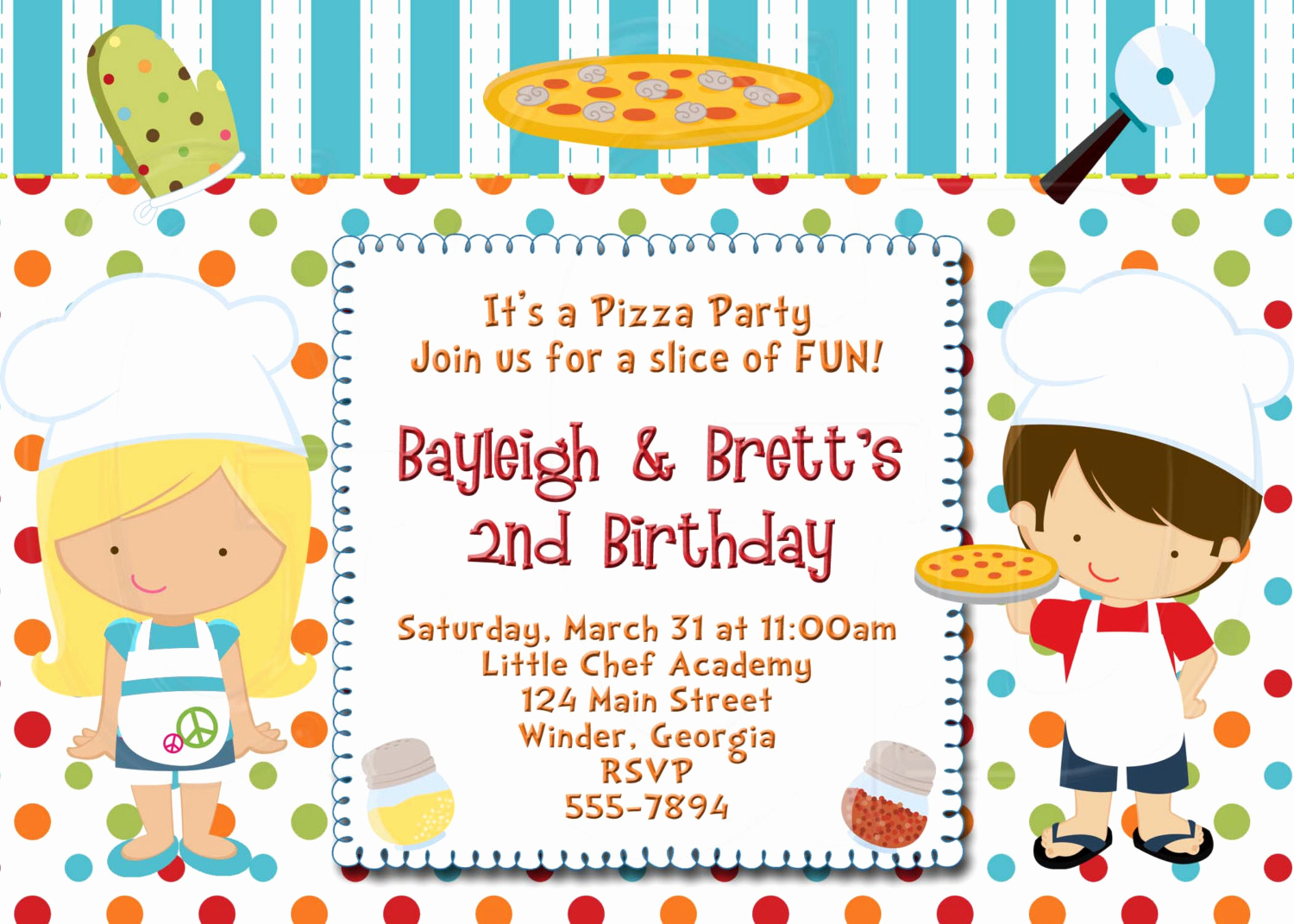 Pizza Party Birthday Invitation Fresh Pizza Party Invitation Boy or Girl Digital File