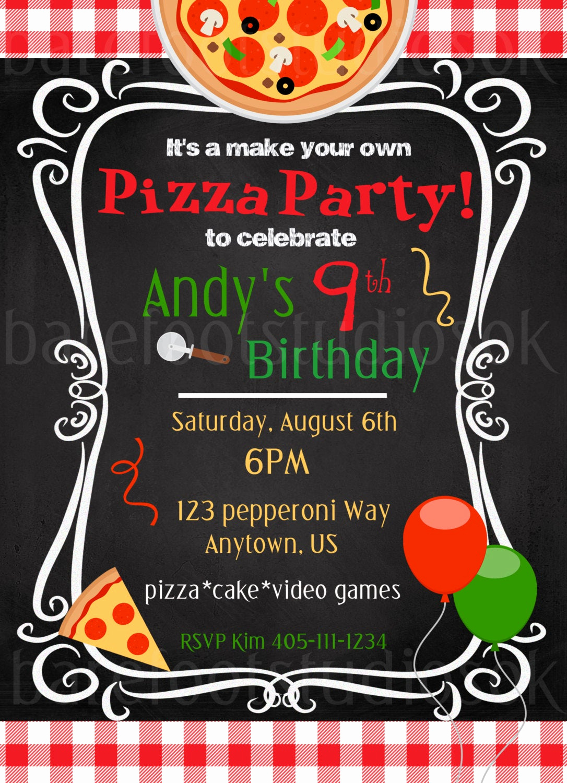 Pizza Party Birthday Invitation Fresh Pizza Party Invitation Pizza Party Printable Birthday
